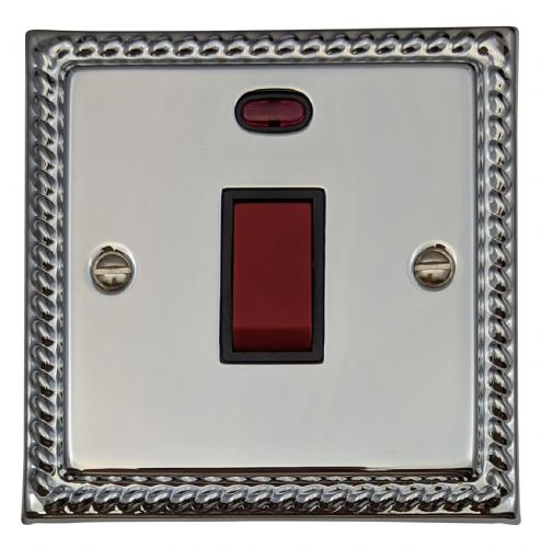 G&H MC46B Monarch Roped Polished Chrome 45 Amp DP Cooker Switch & Neon Single Plate
